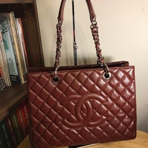 Chanel GST Caviar  Grand Shopping tote maroon bag